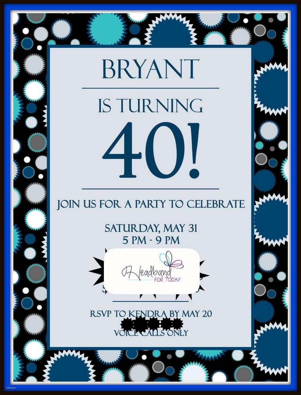 40th Birthday Party Invitation Templates