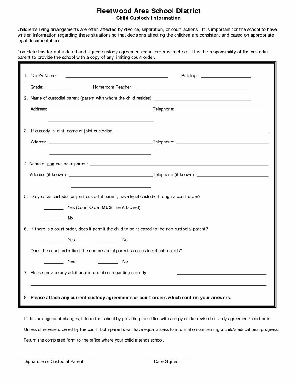 50 50 Custody Agreement Template