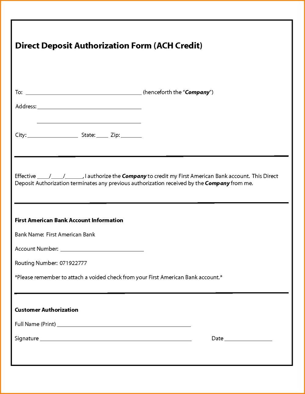 Ach Deposit Authorization Form Template