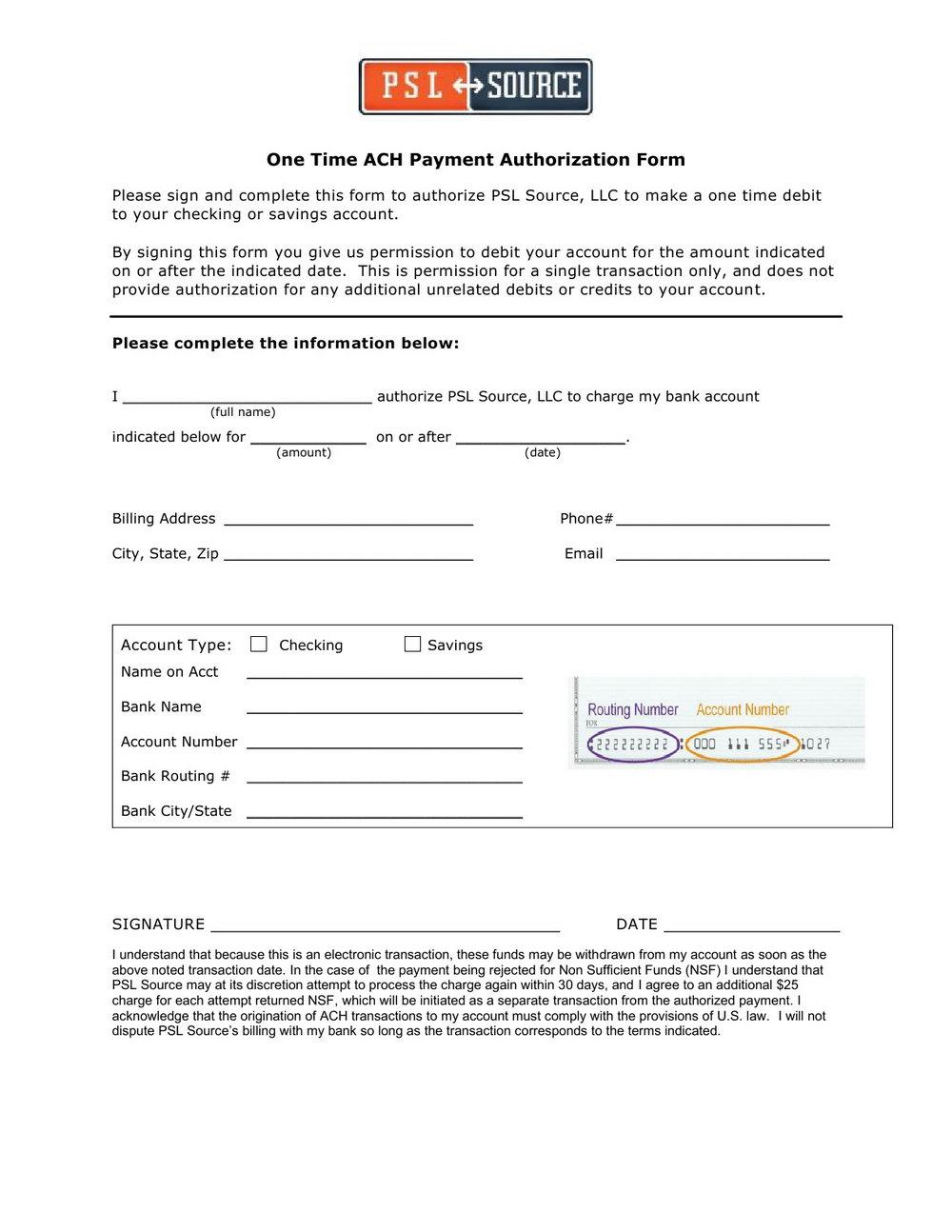 Ach Vendor Payment Form Template