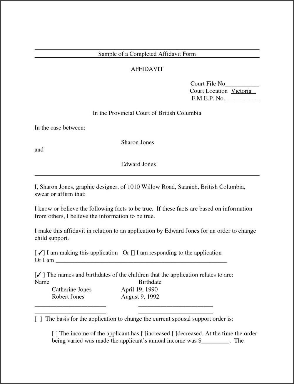 Affidavit Template Word