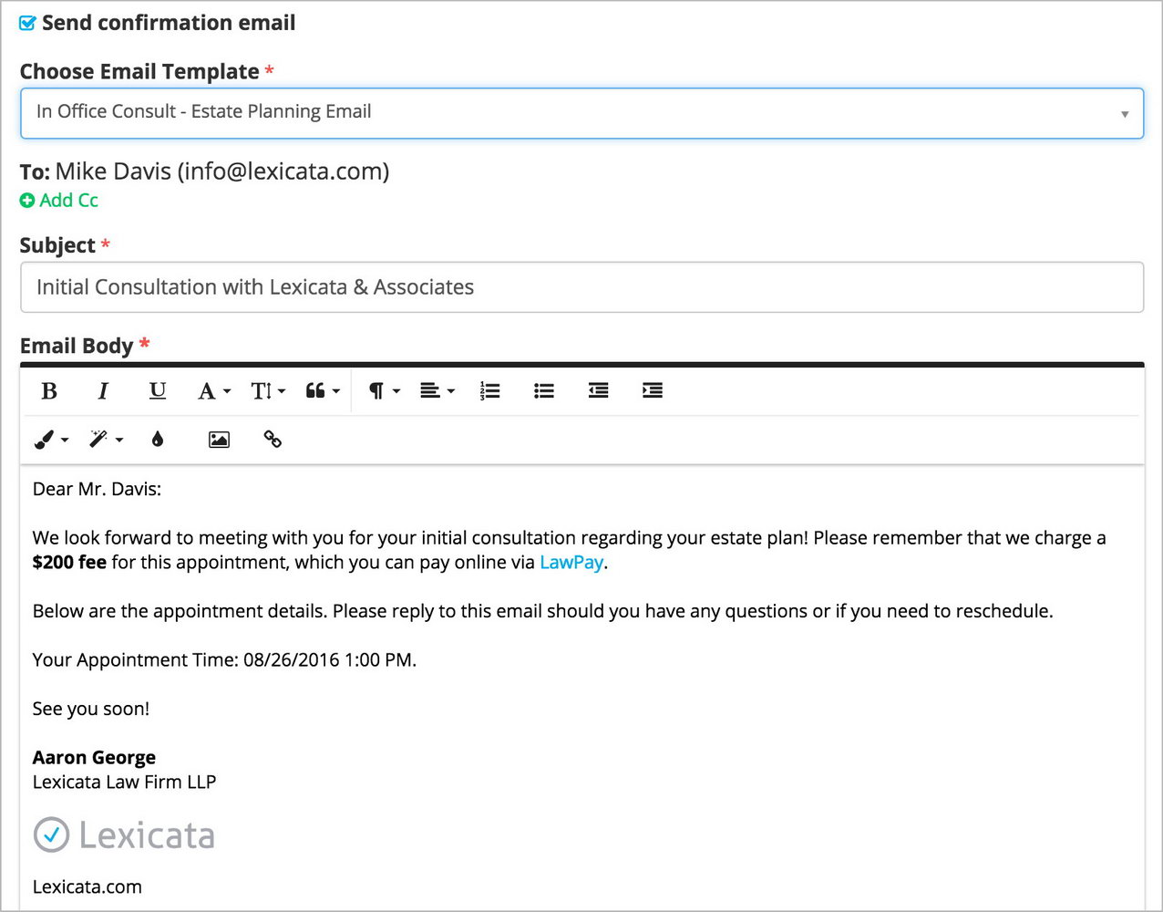 Appointment Scheduling Email Template