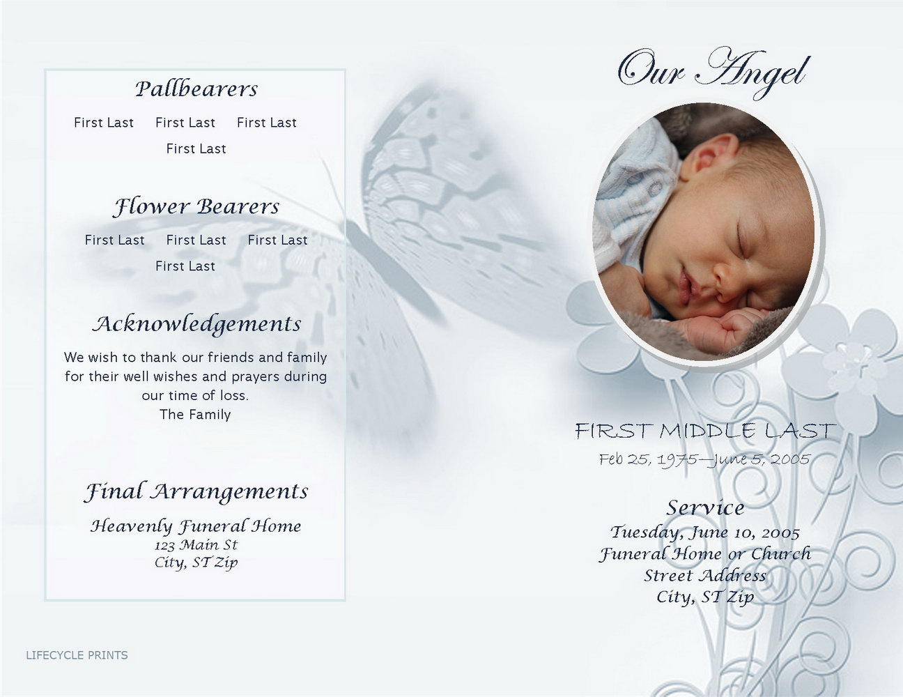 Baby Funeral Program Template Free