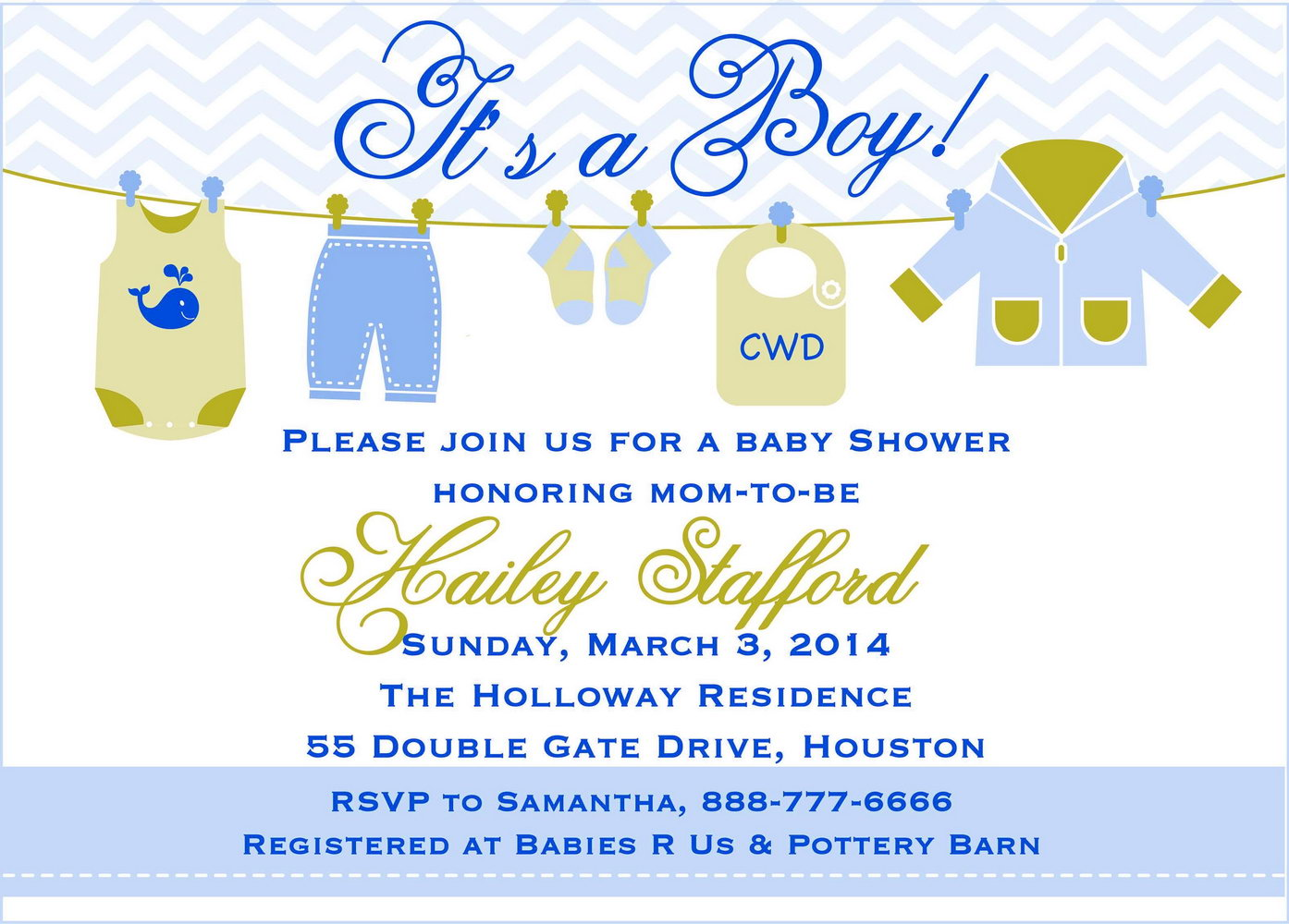 Baby Shower Invitation Template Pinterest