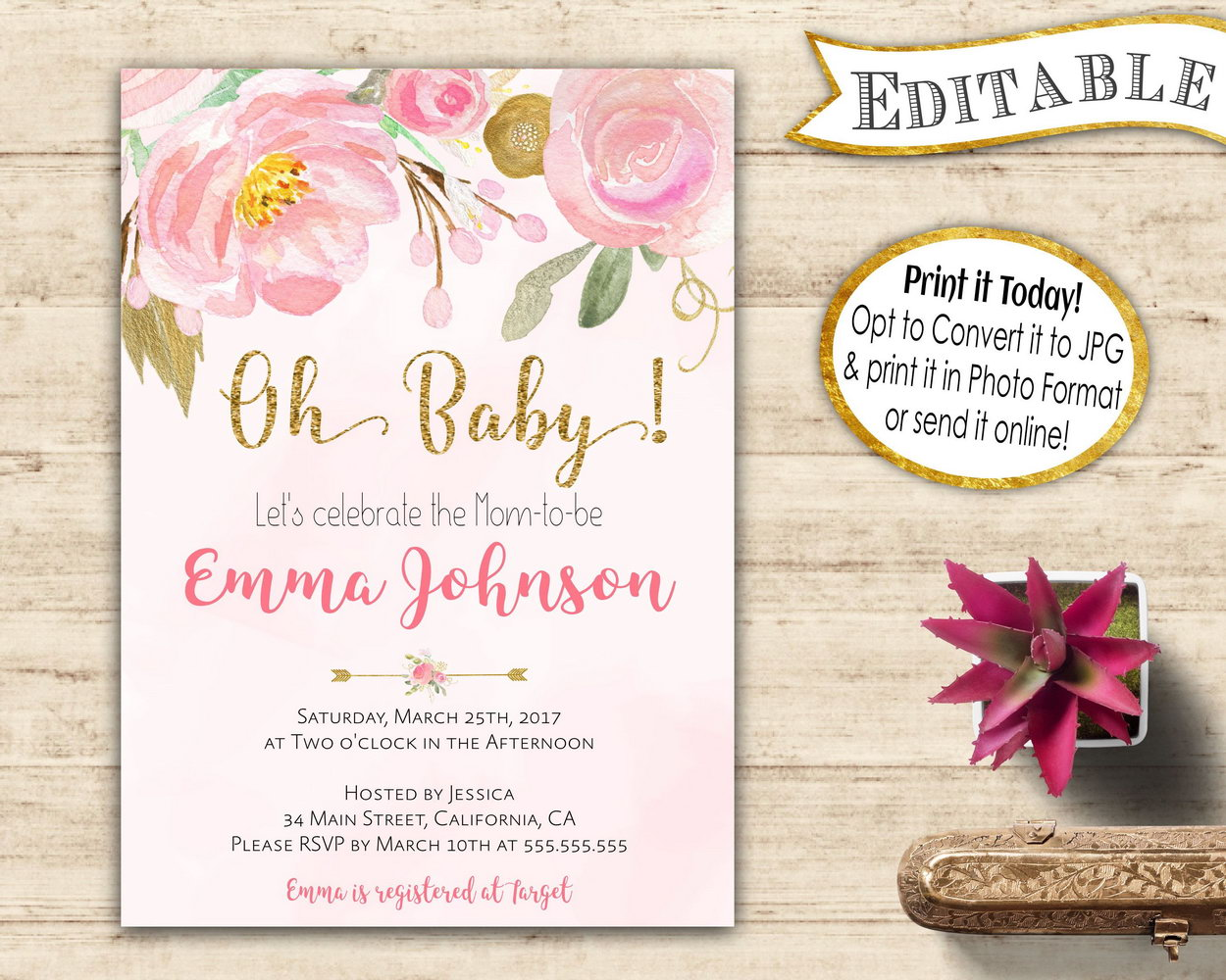 Baby Shower Invitations Templates Editable Girl