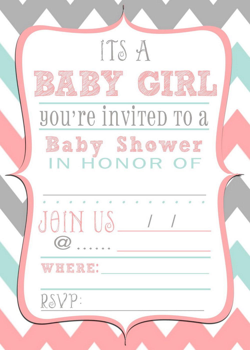 Baby Shower Invite Template Girl