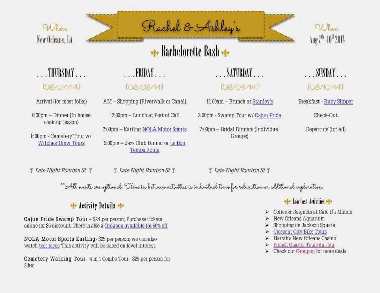 Bachelorette Itinerary Template Free