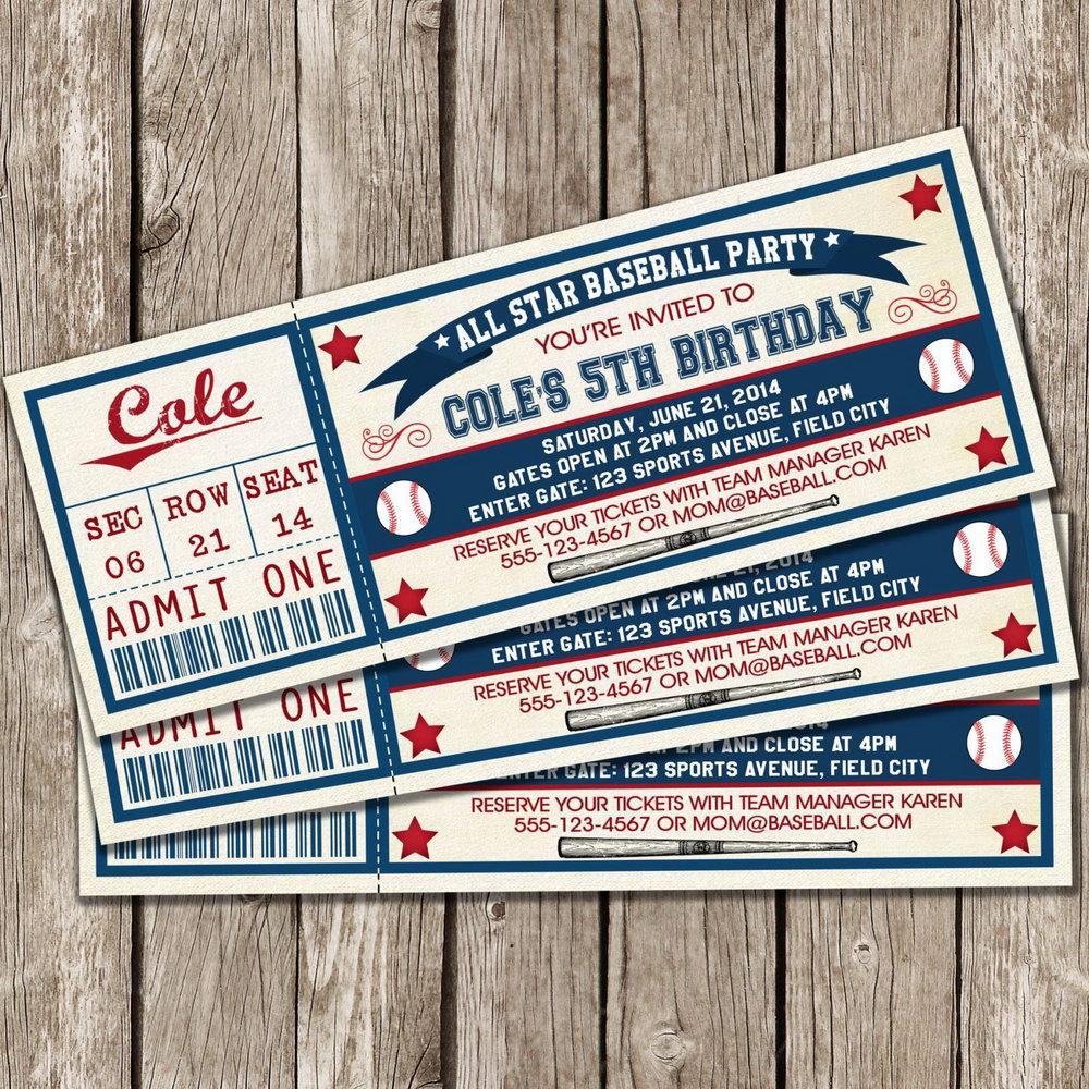 Baseball Ticket Template Invitation