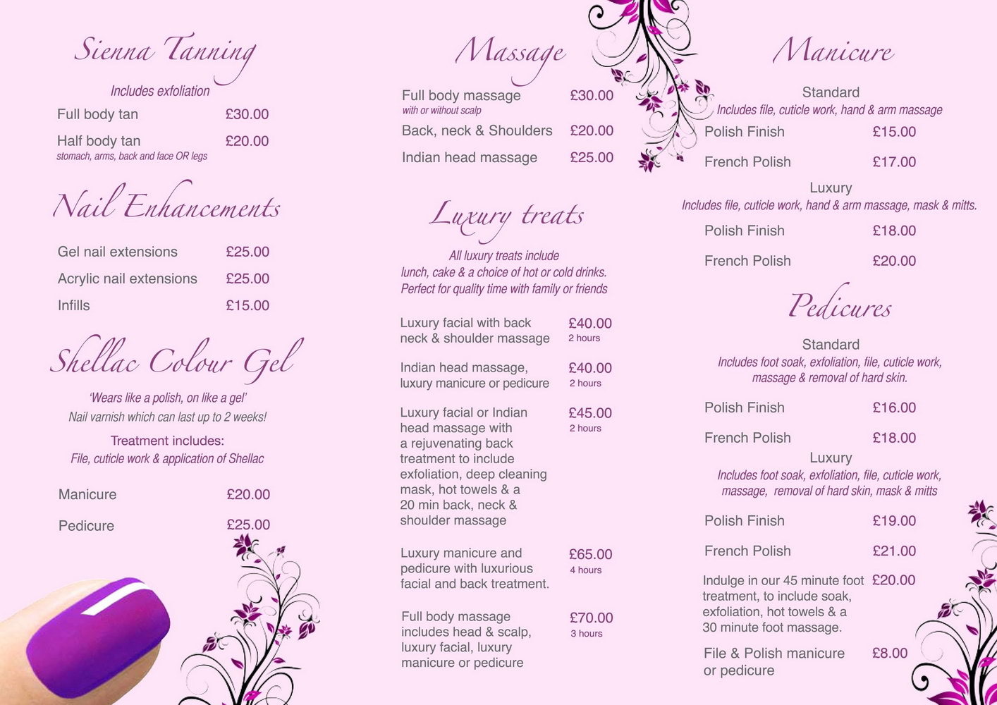 Beauty Salon Menu Template