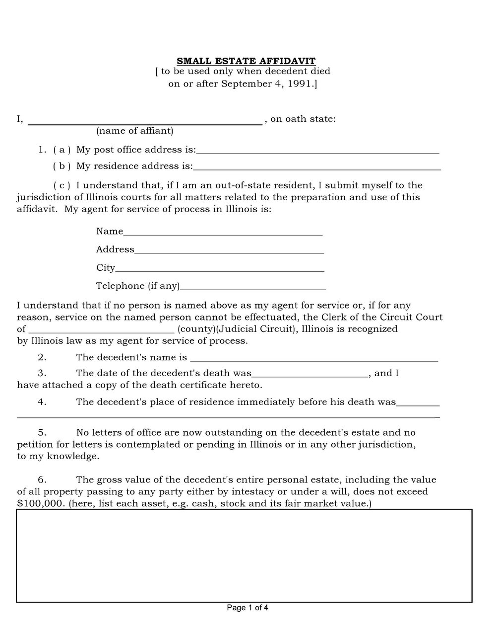 Bee Affidavit Word Template