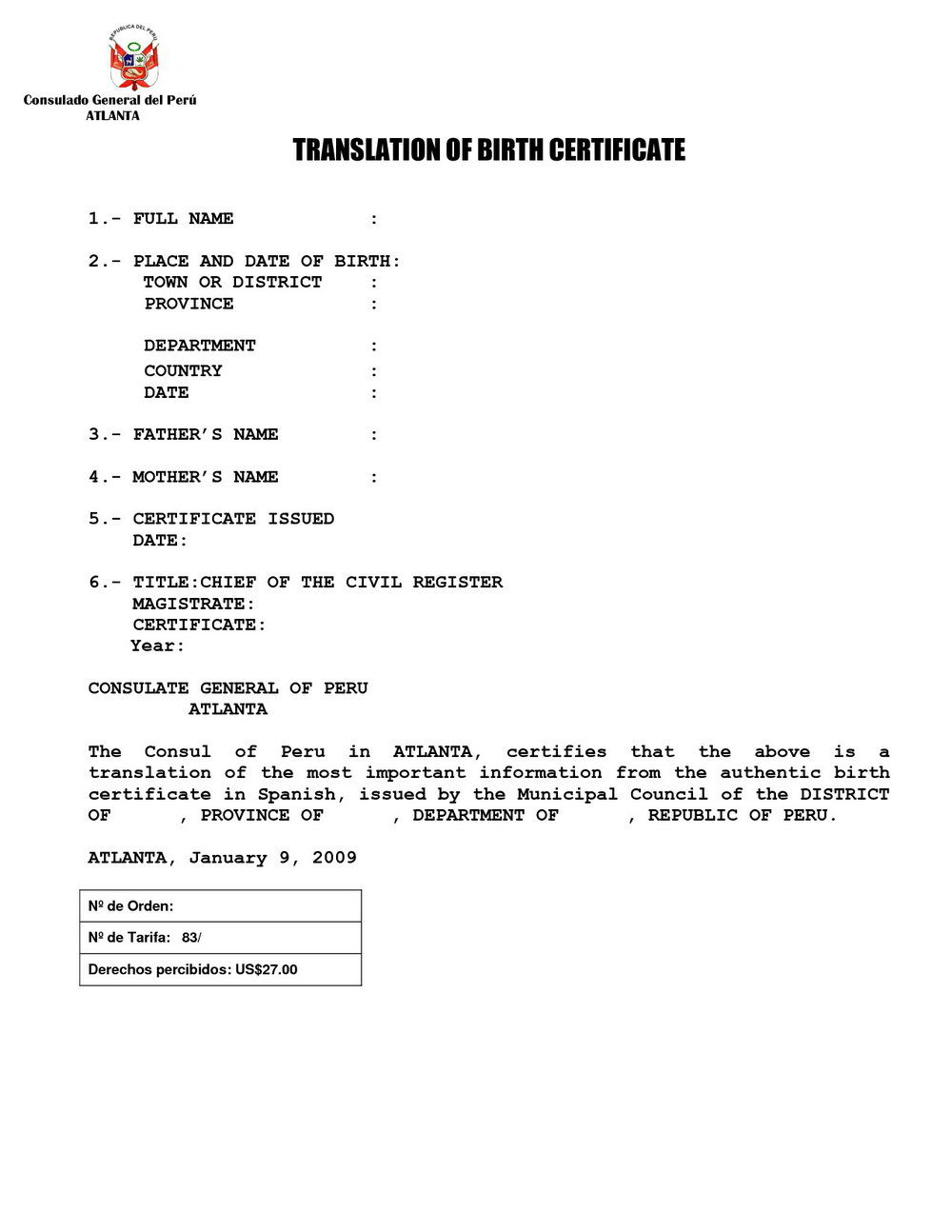 Birth Certificate Translation Template English To Italian