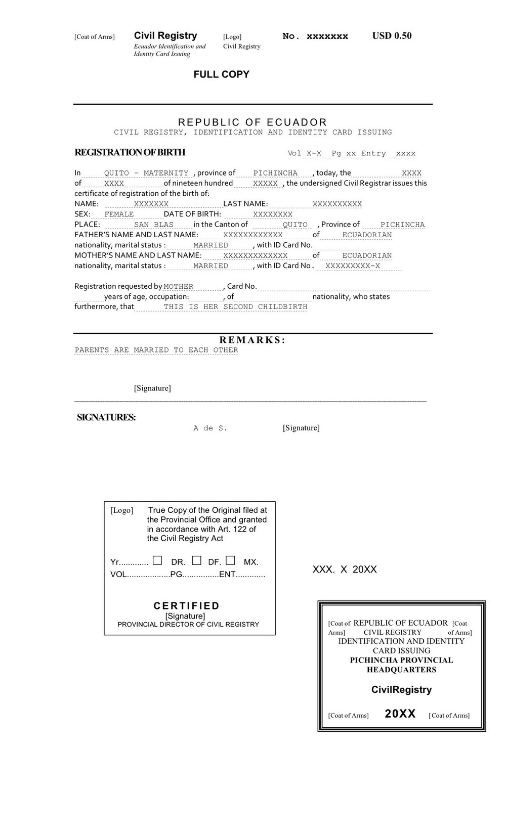 Birth Certificate Translation Template Spanish To English