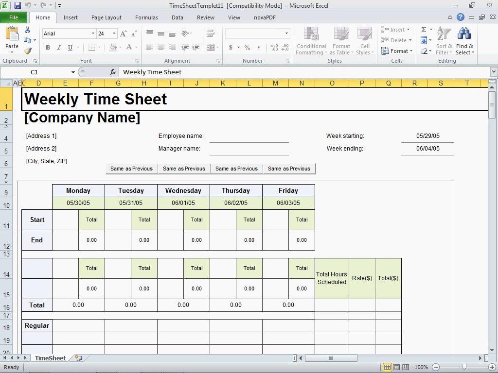 Biweekly Timesheet Template Excel Free