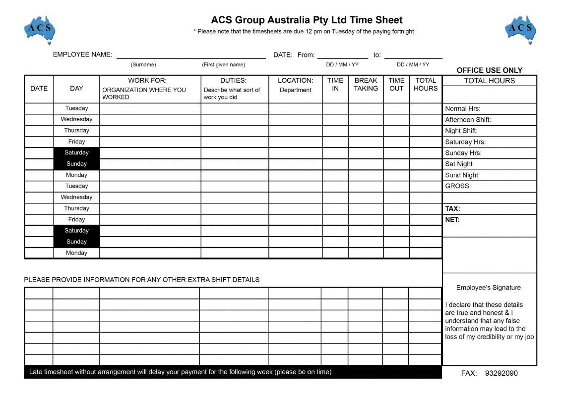 Biweekly Timesheet Template Excel