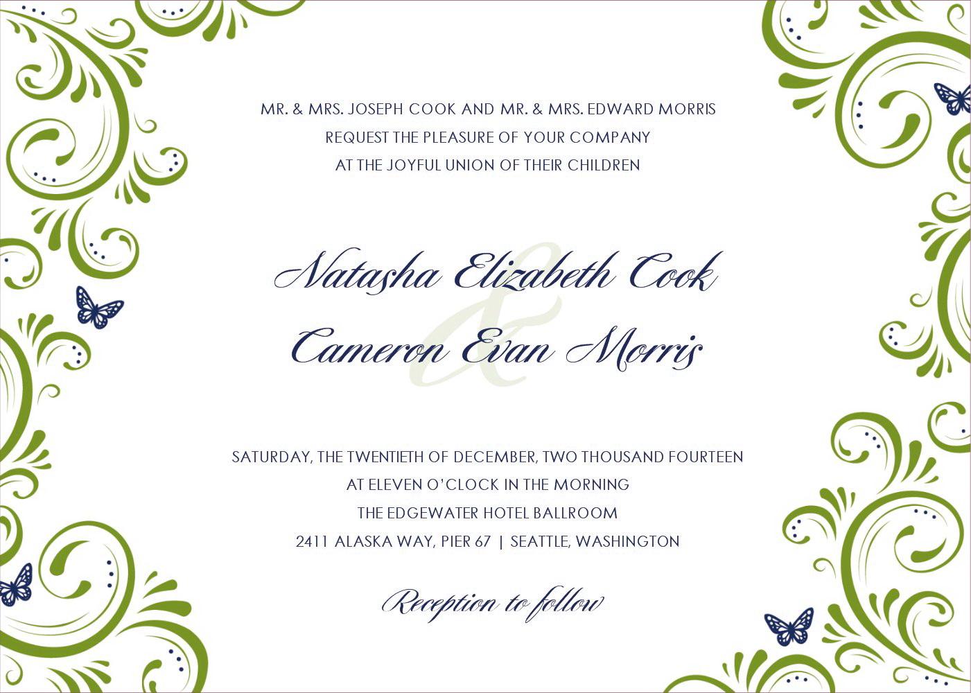 Blank Formal Invitation Templates Green