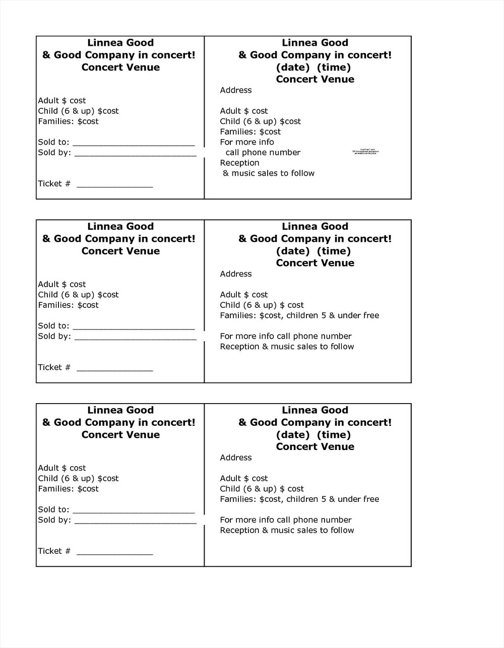 Blank Raffle Ticket Template Free
