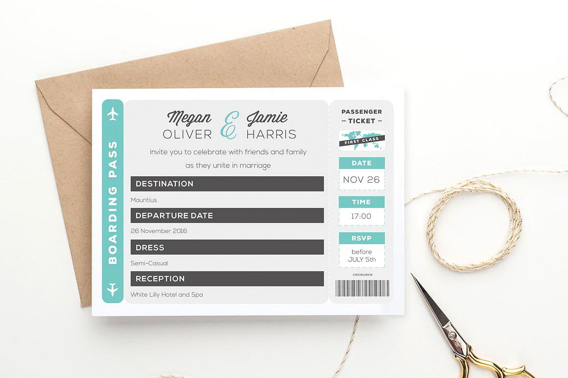 Boarding Pass Invitation Template Free Download
