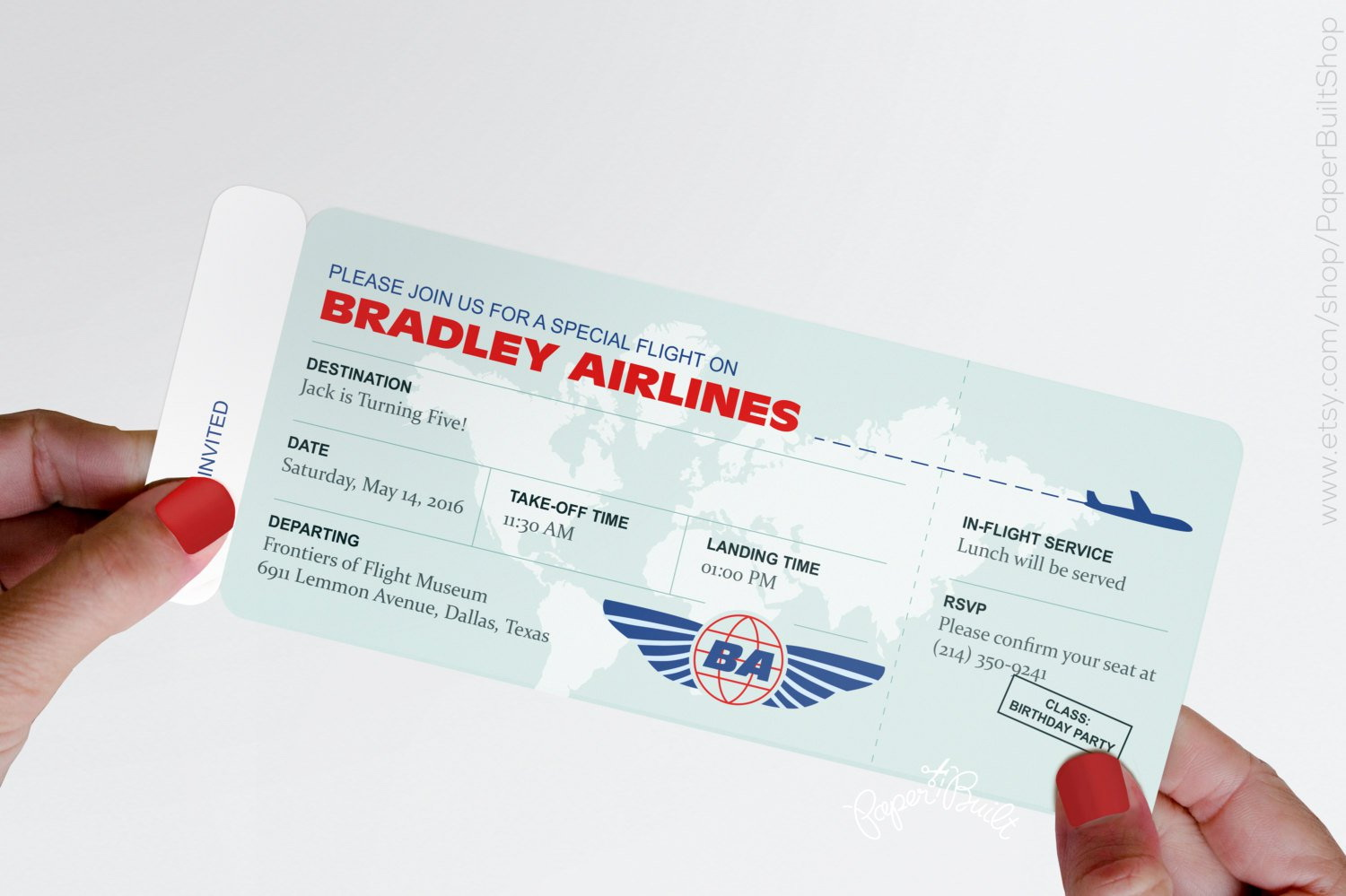 Boarding Pass Invitation Template Free