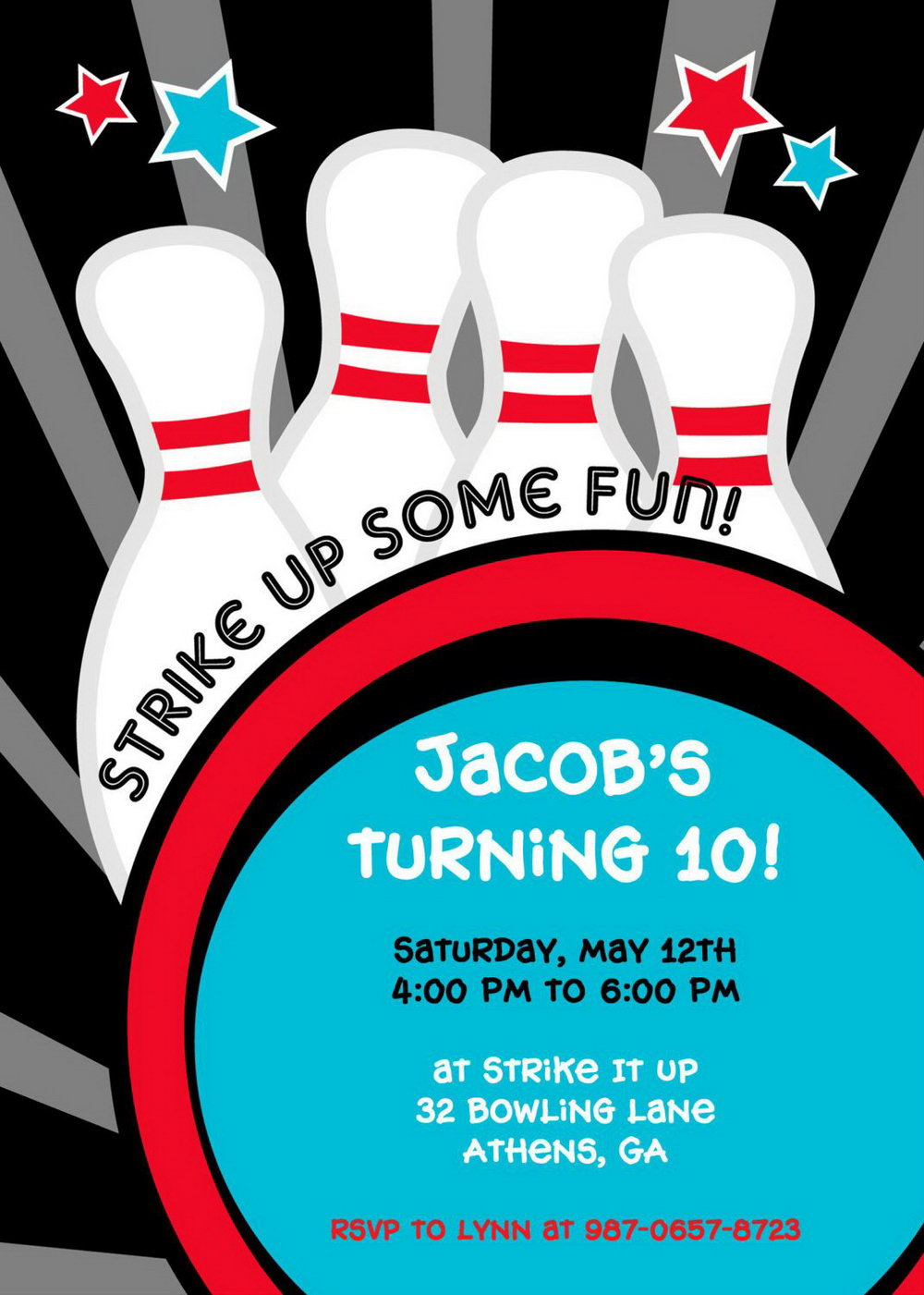 Bowling Pin Invitation Template