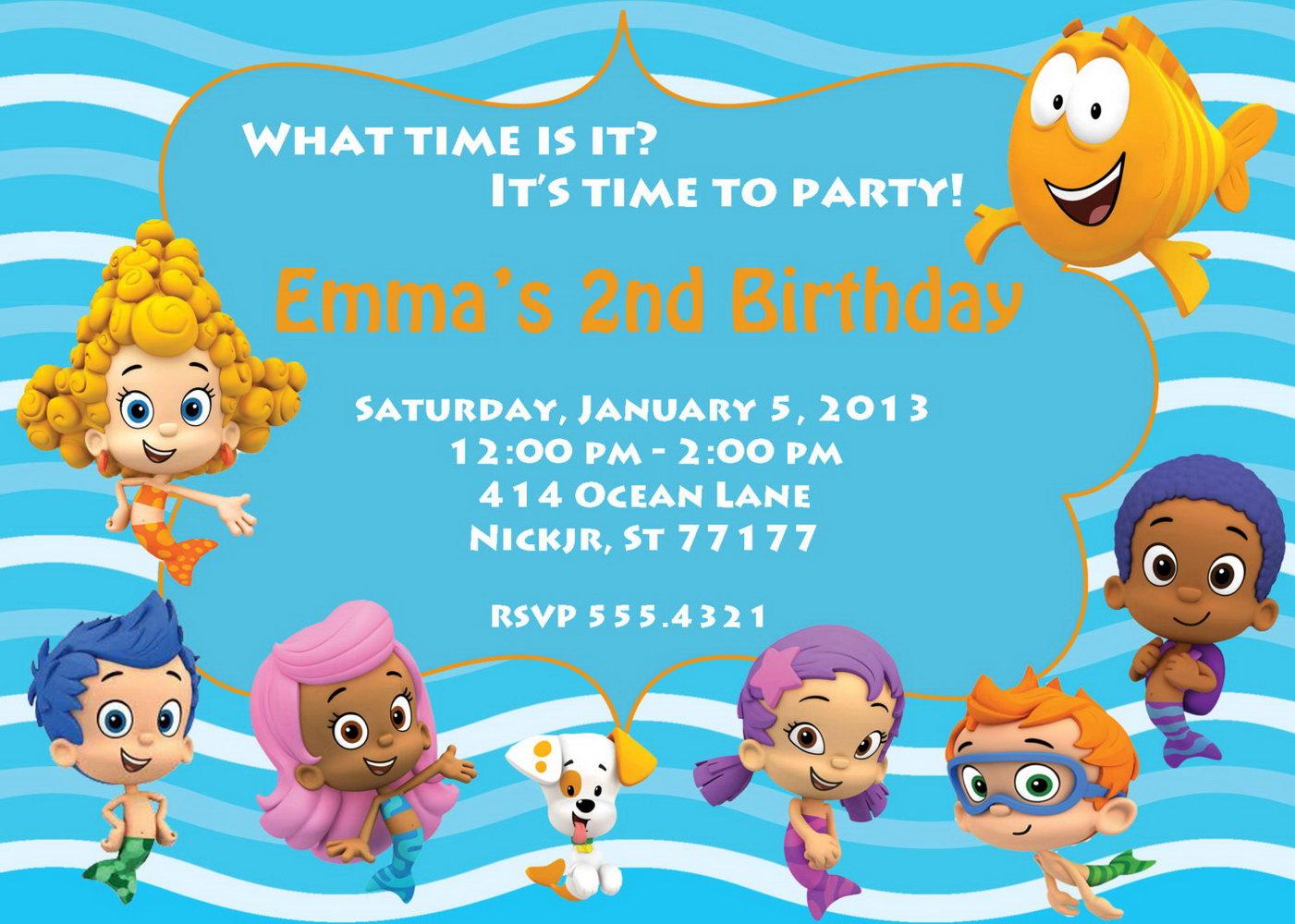 Bubble Guppies Invitation Template Free