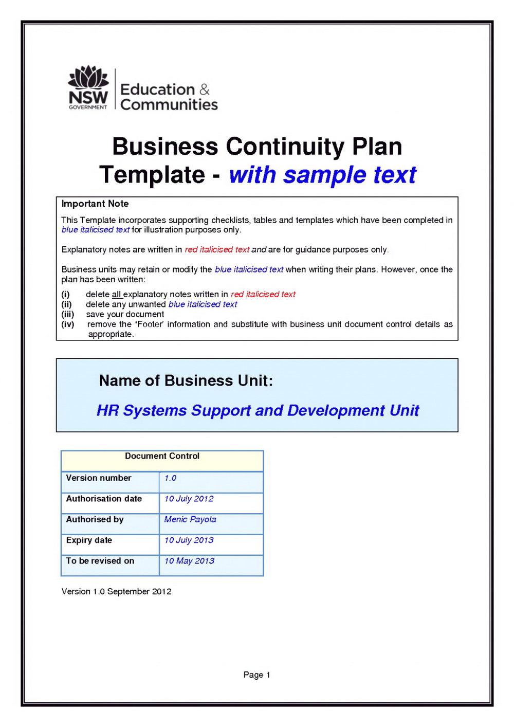 Business Emergency Preparedness Plan Template