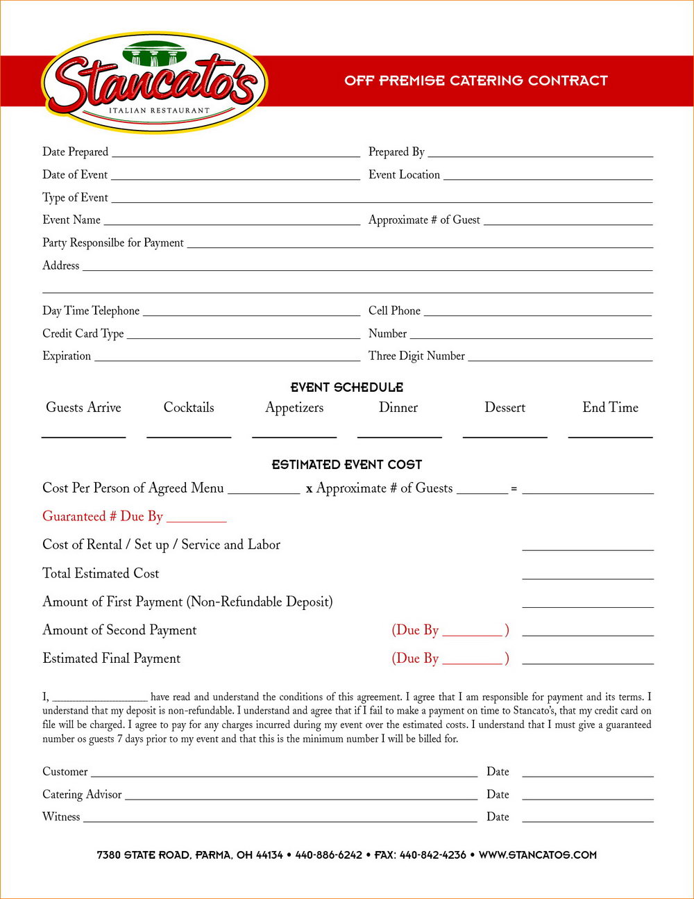 Catering Event Contract Template