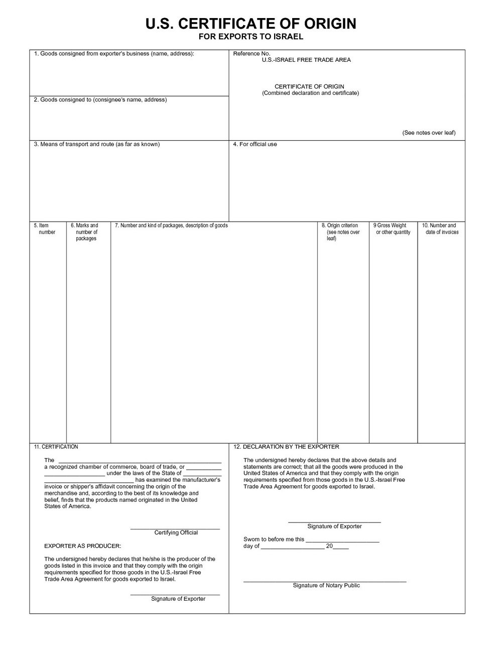 Certificate Of Origin Template Usa