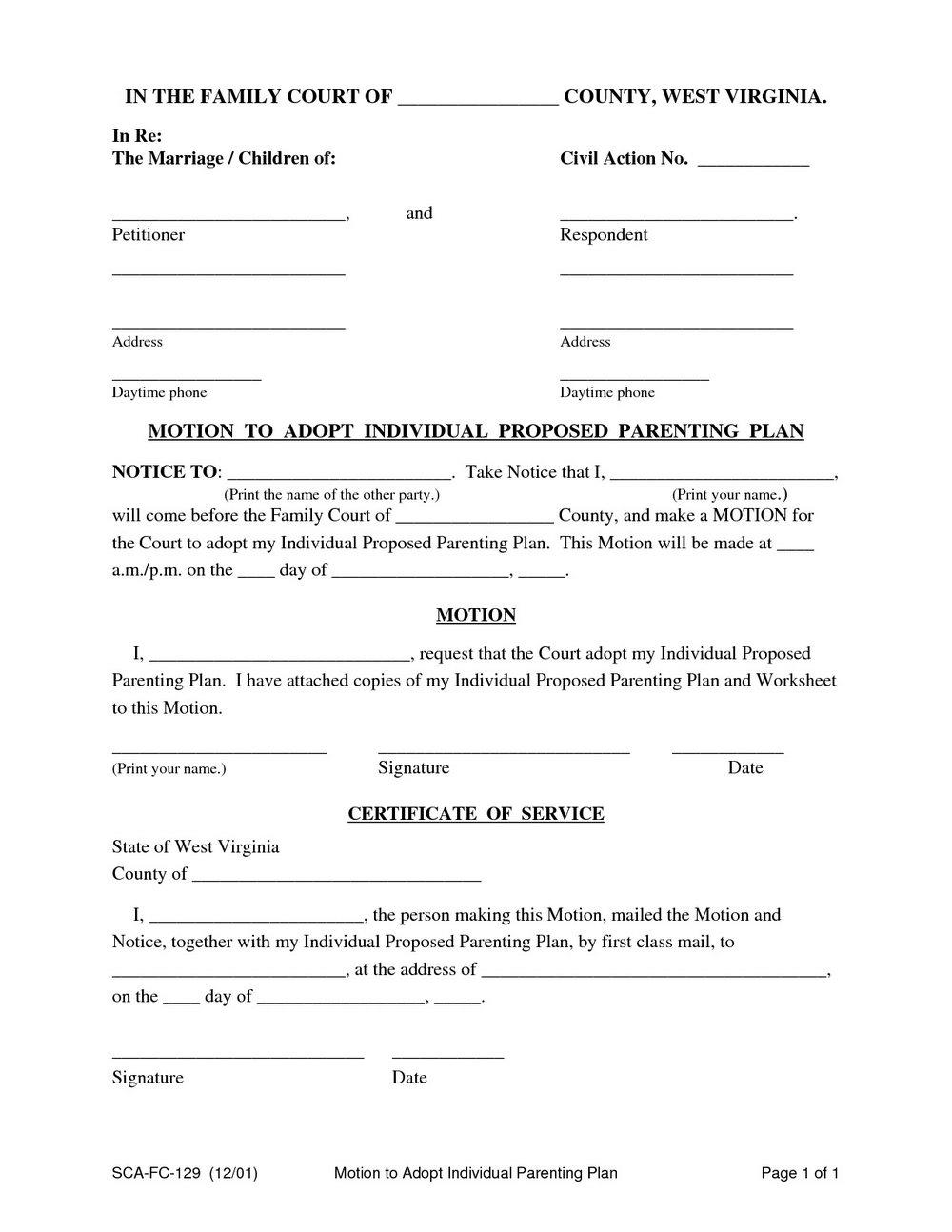 Child Custody Agreement Template Uk