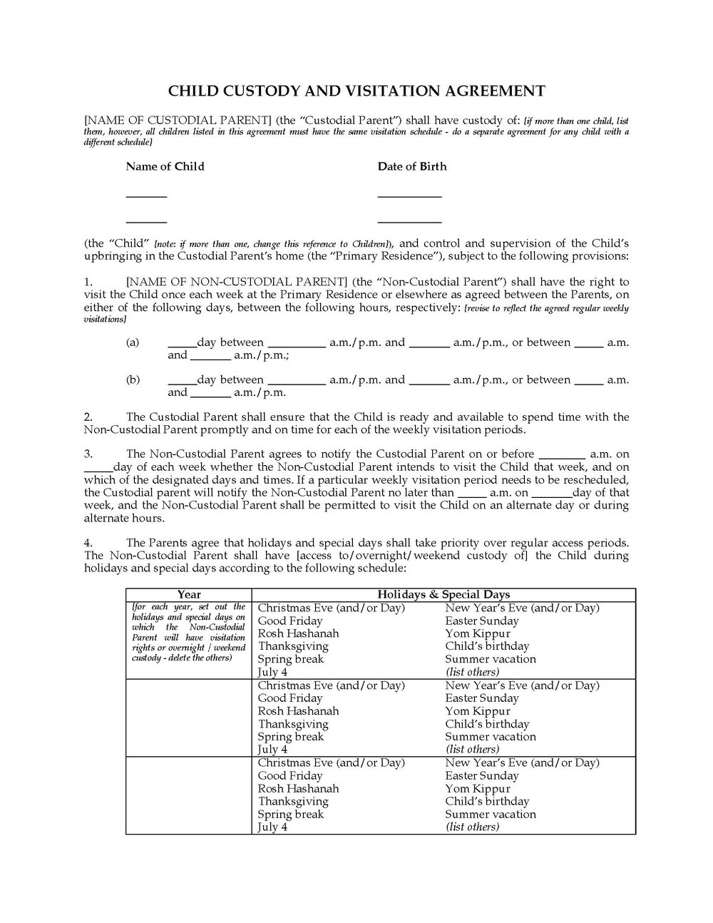 Child Custody Agreement Template