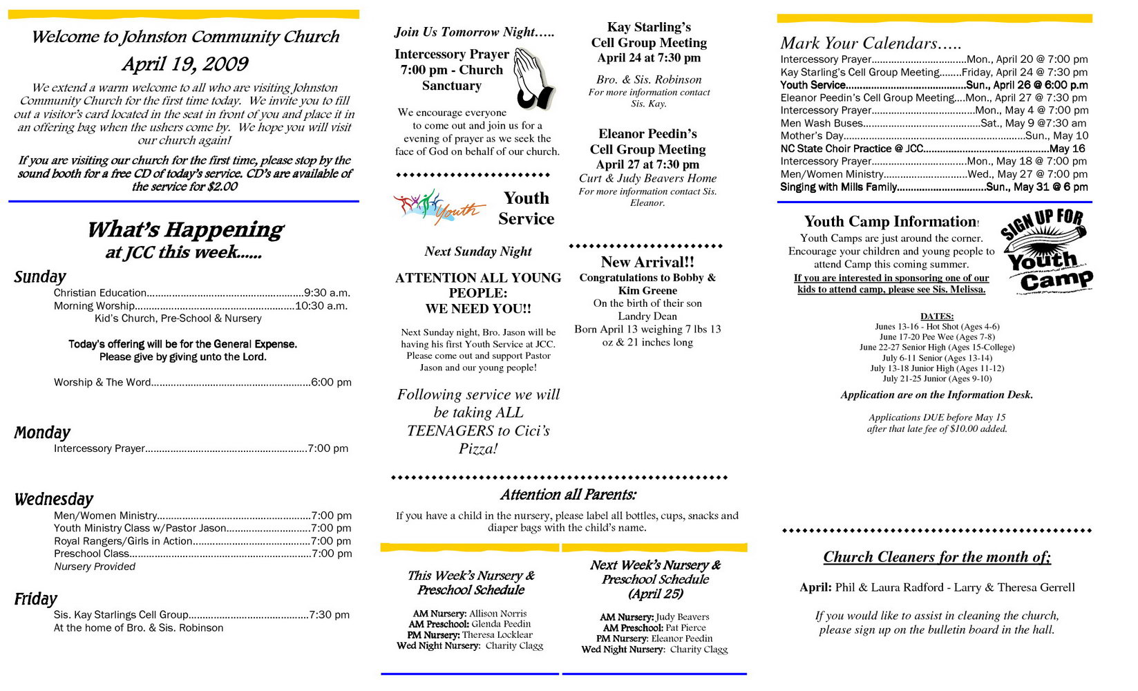 Church Bulletin Template Free