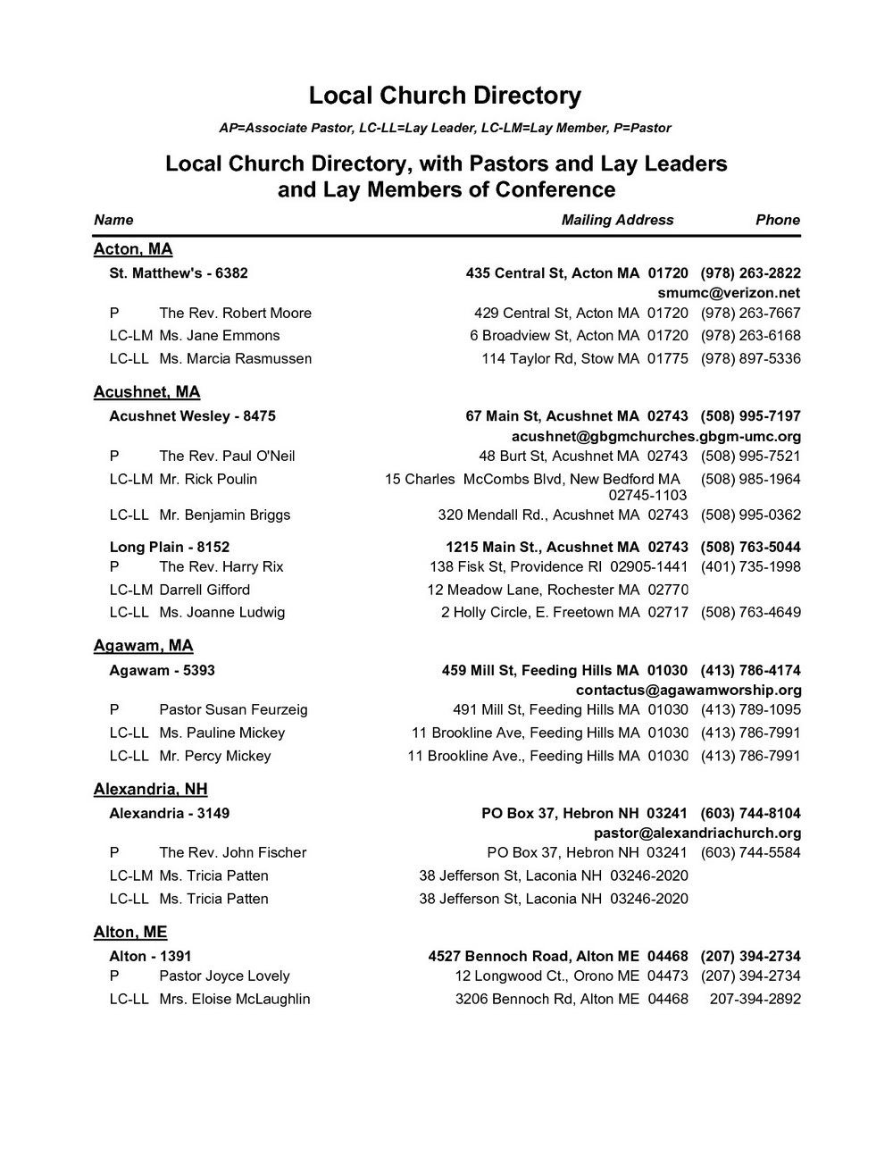 Church Member Directory Template