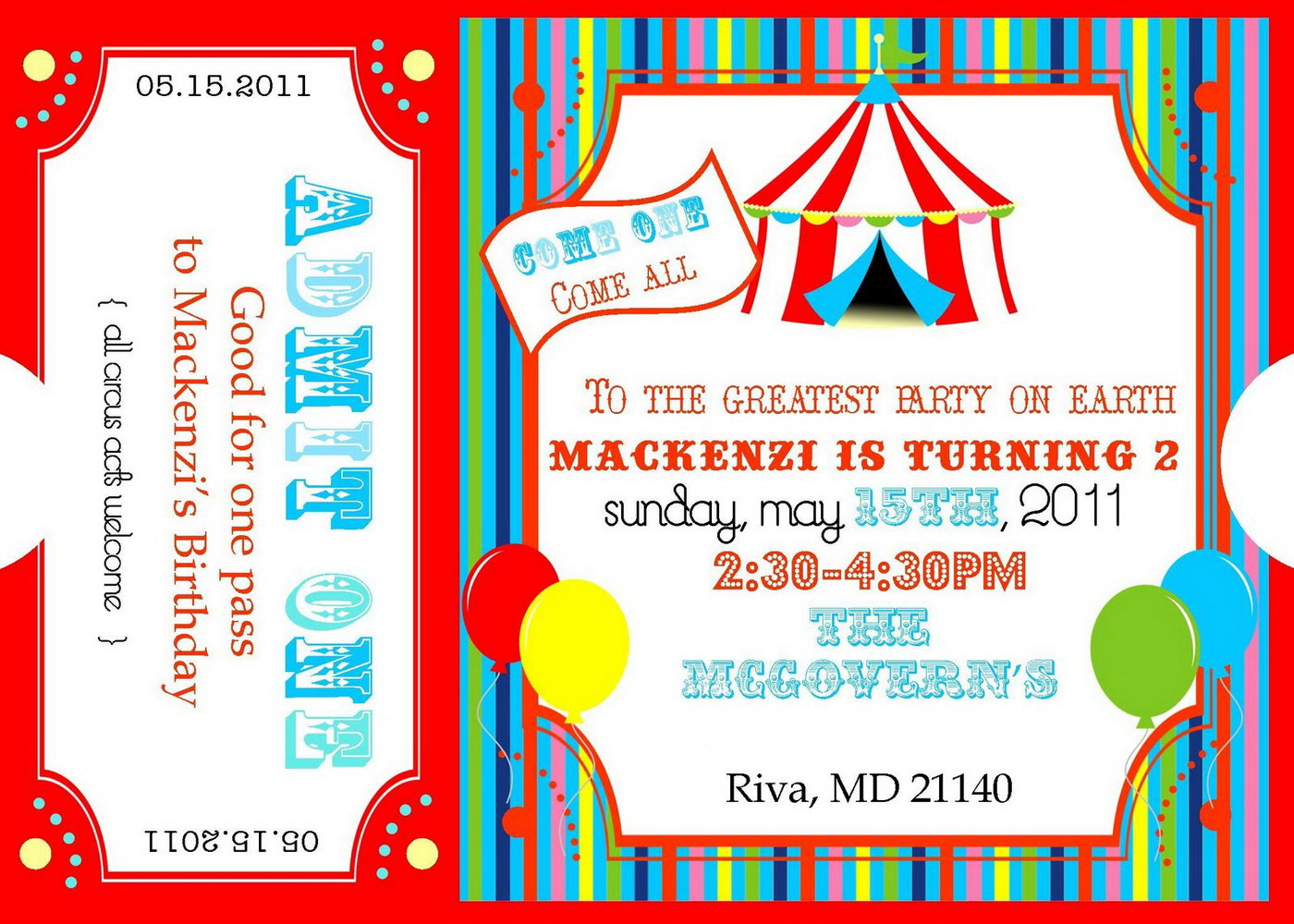 Circus Admission Ticket Template