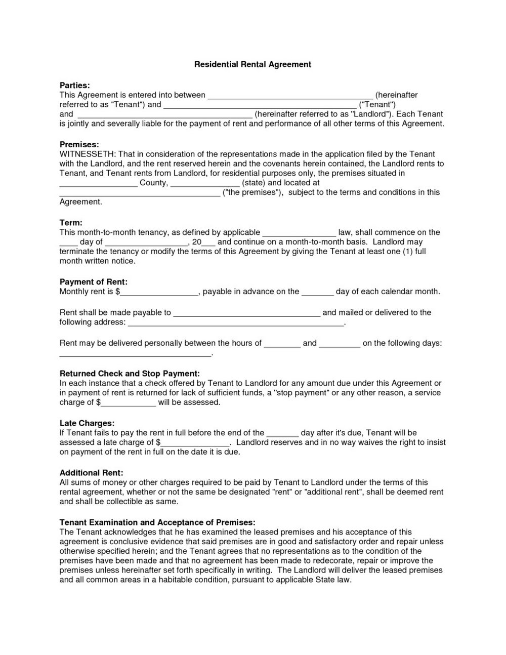 Commercial Lease Agreement Template Free