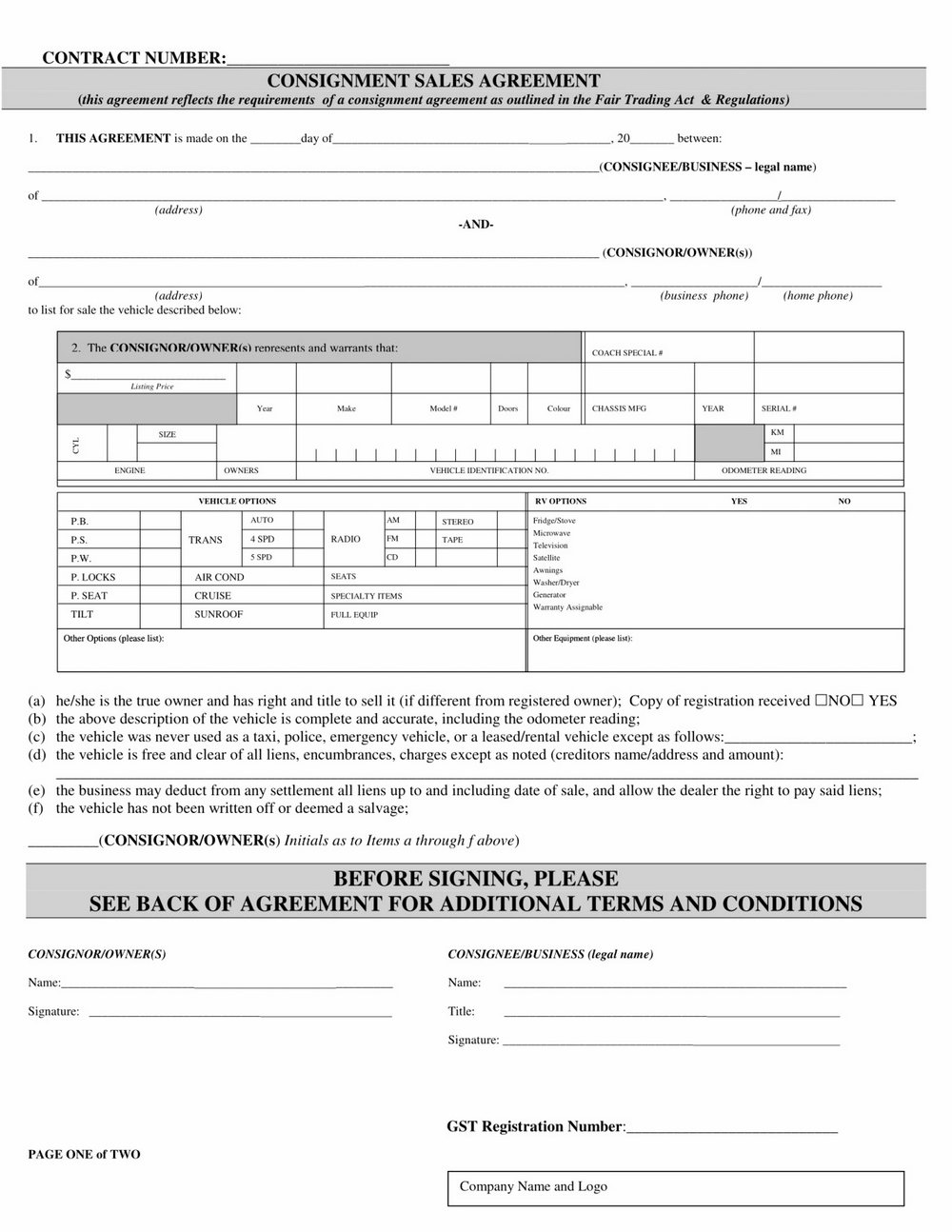 Consignment Agreement Template Uk