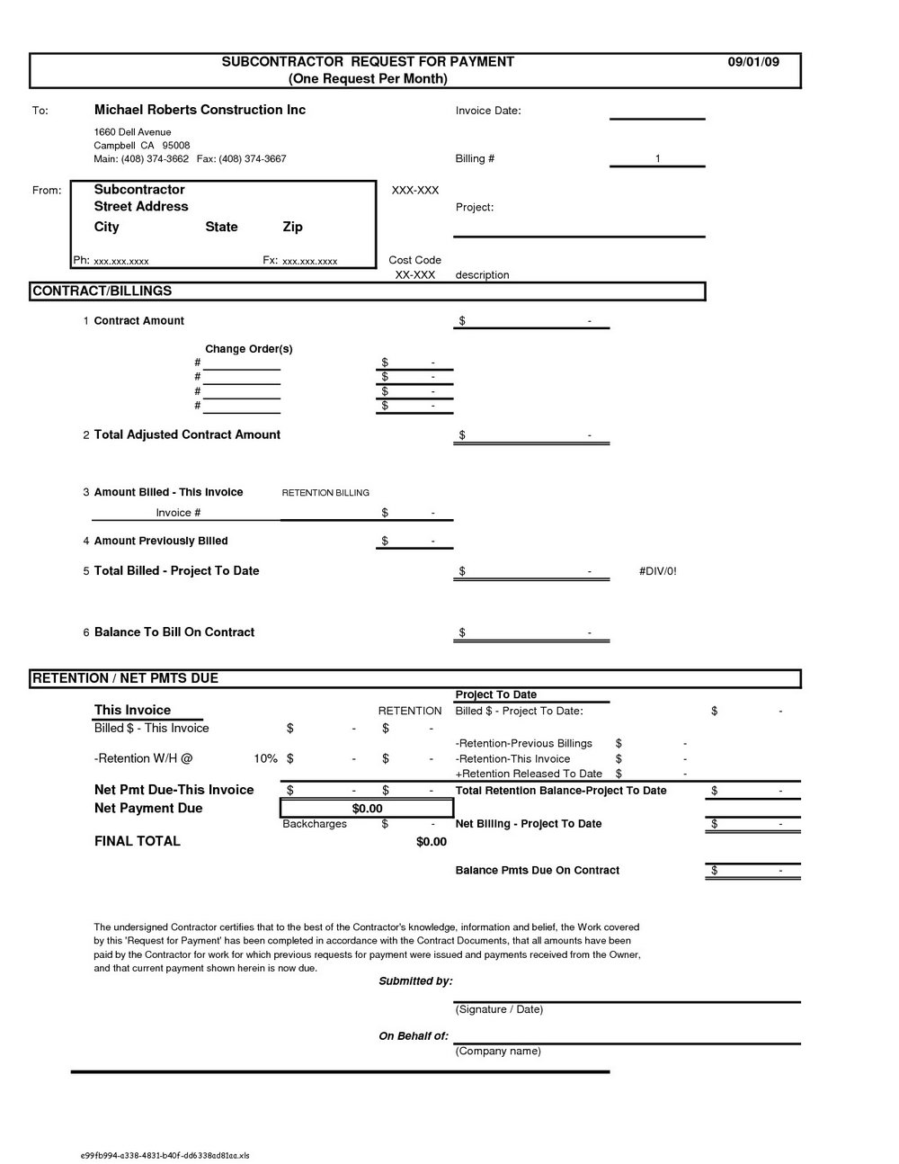 Construction Invoice Template Pdf