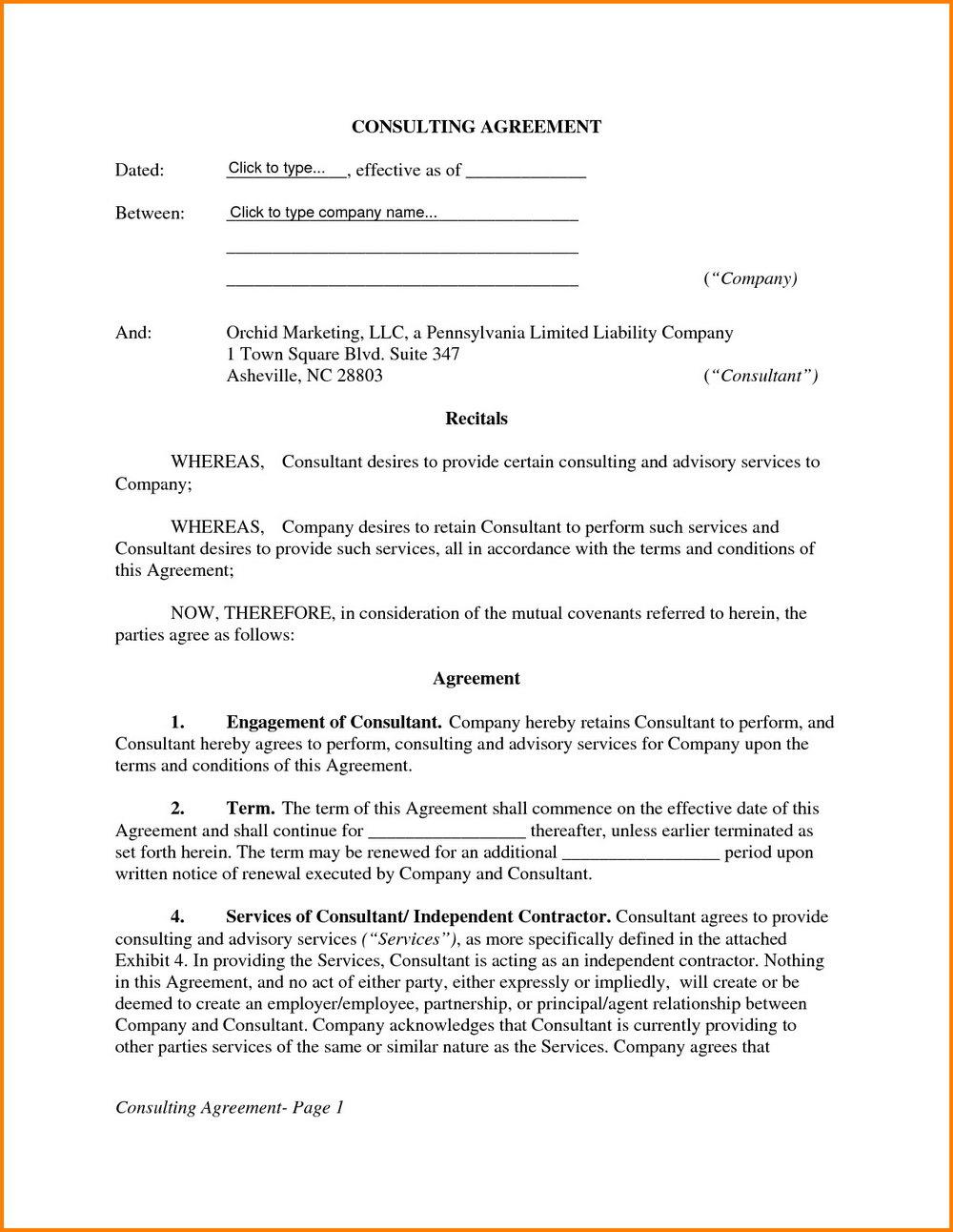 Consultant Agreement Template Australia