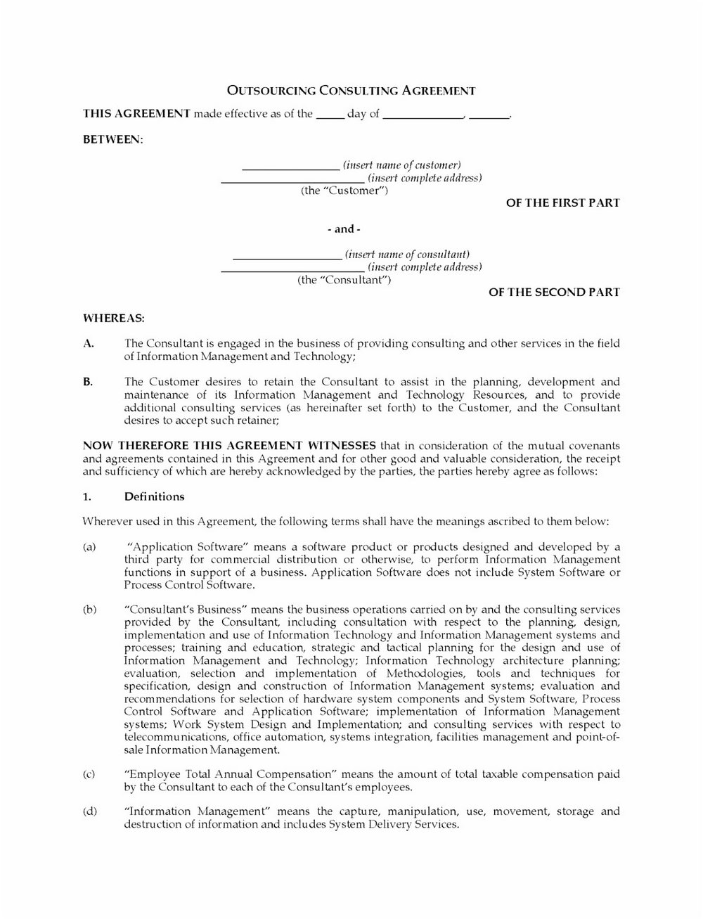 Consultant Agreement Template Word