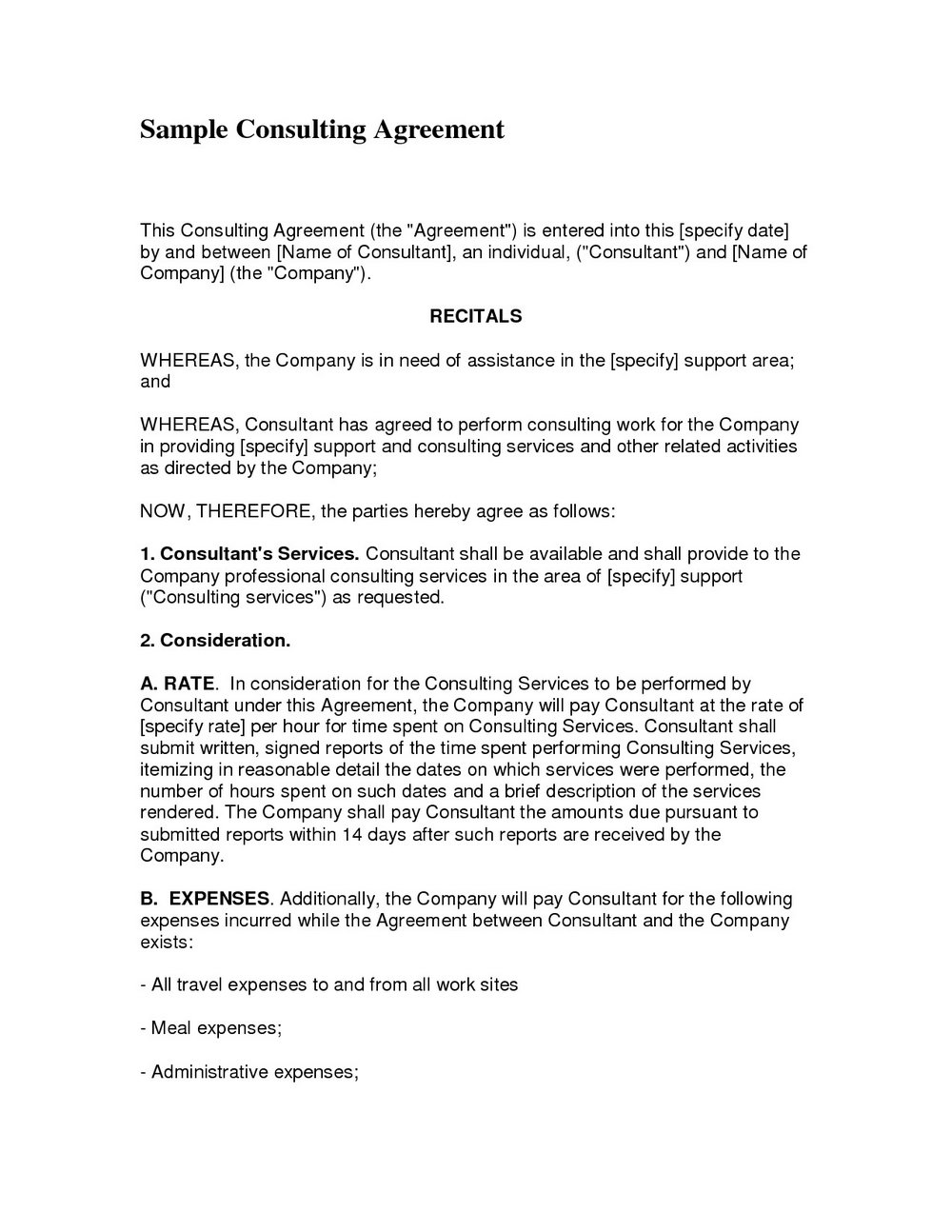 Consulting Contract Template Doc