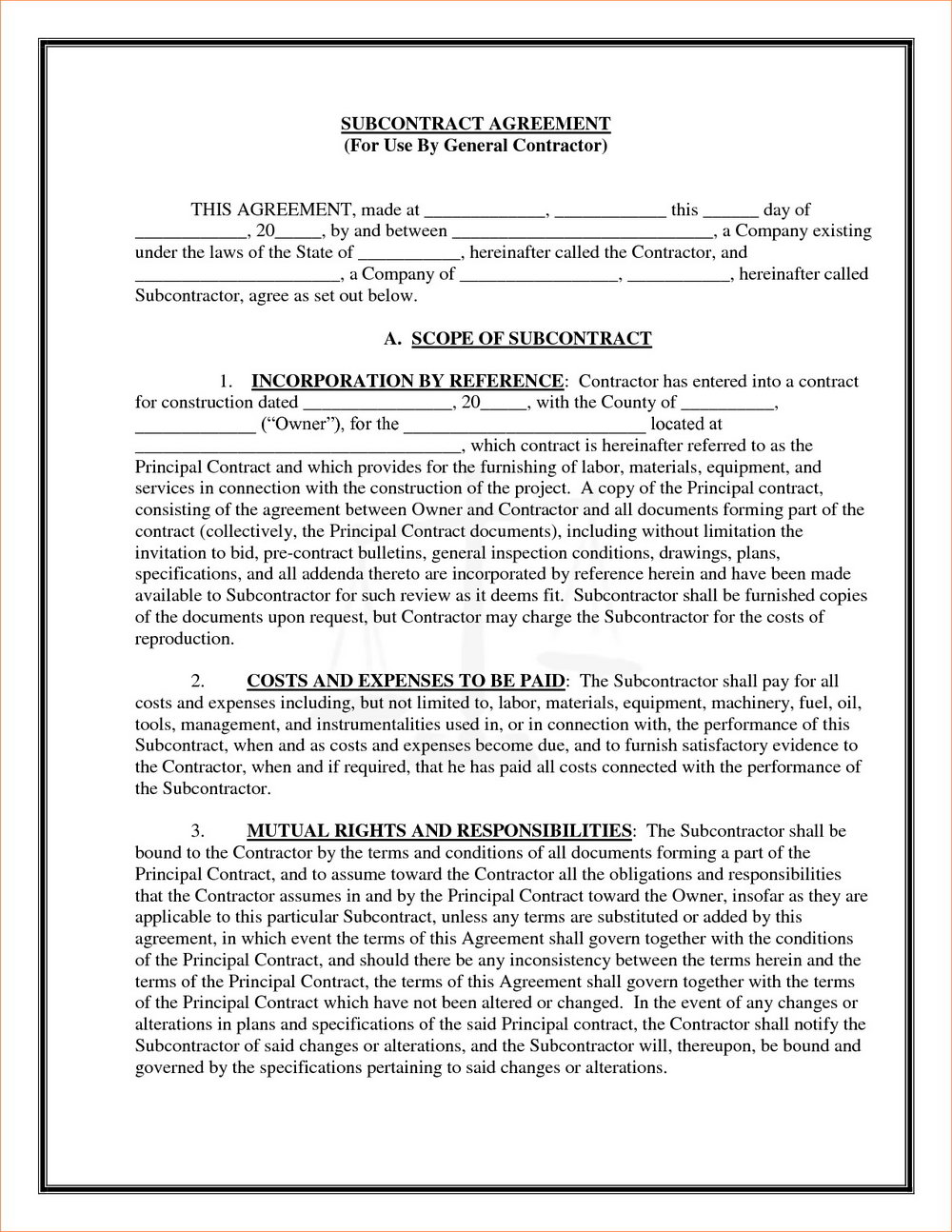 Contractor Agreement Template Free