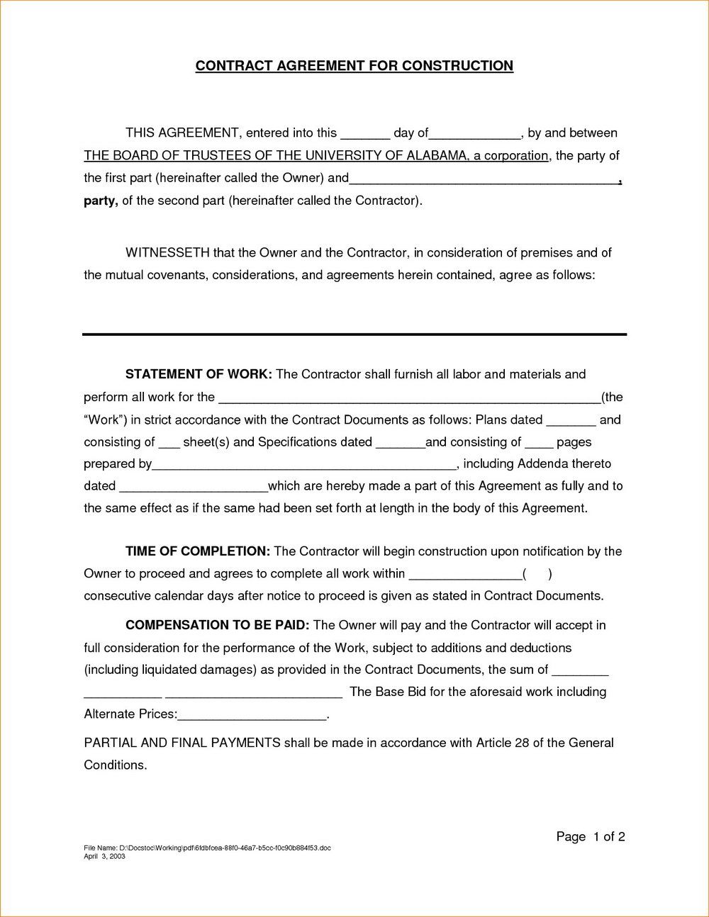 Contractor Agreement Template Uk