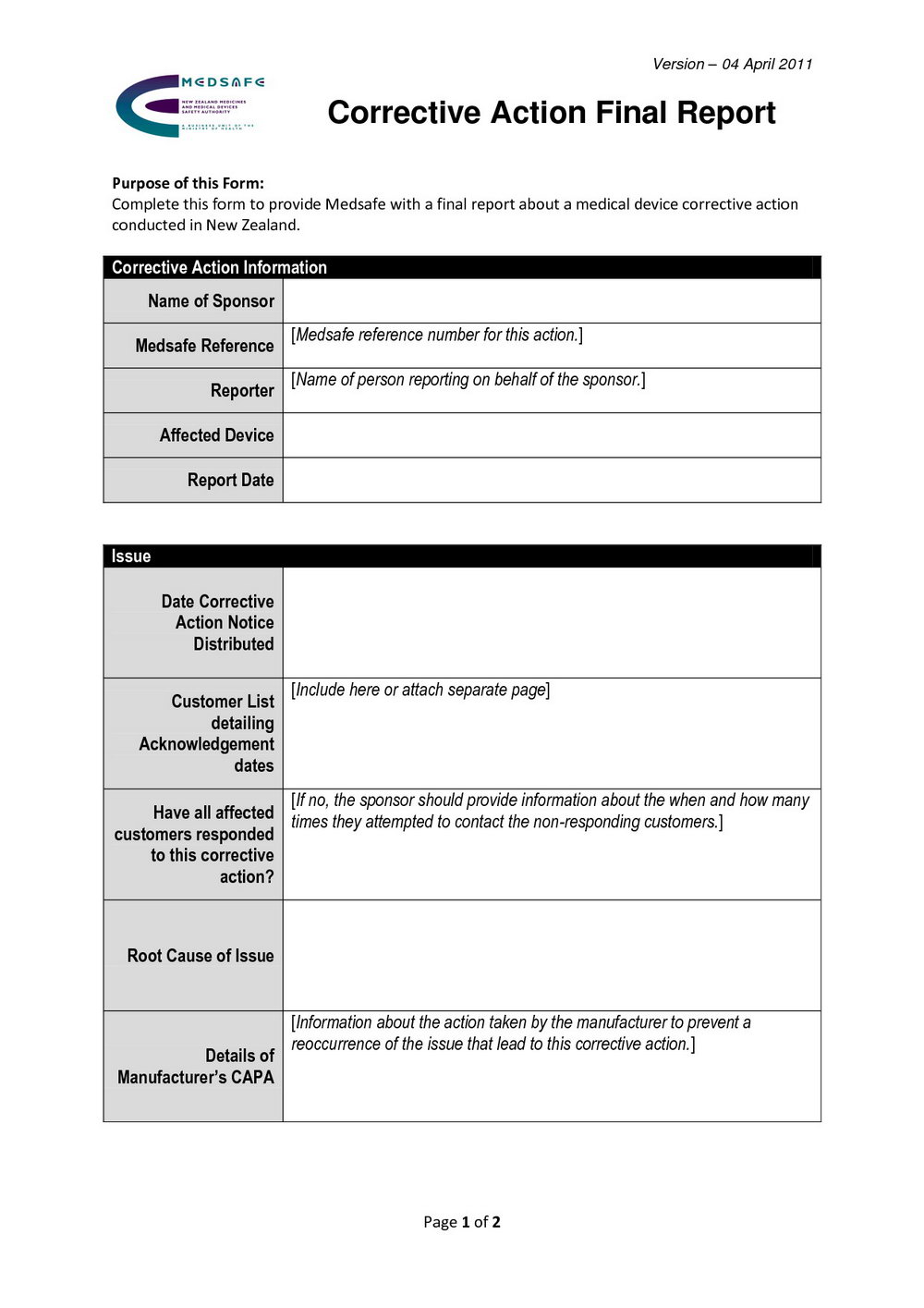 Corrective Action Form Template