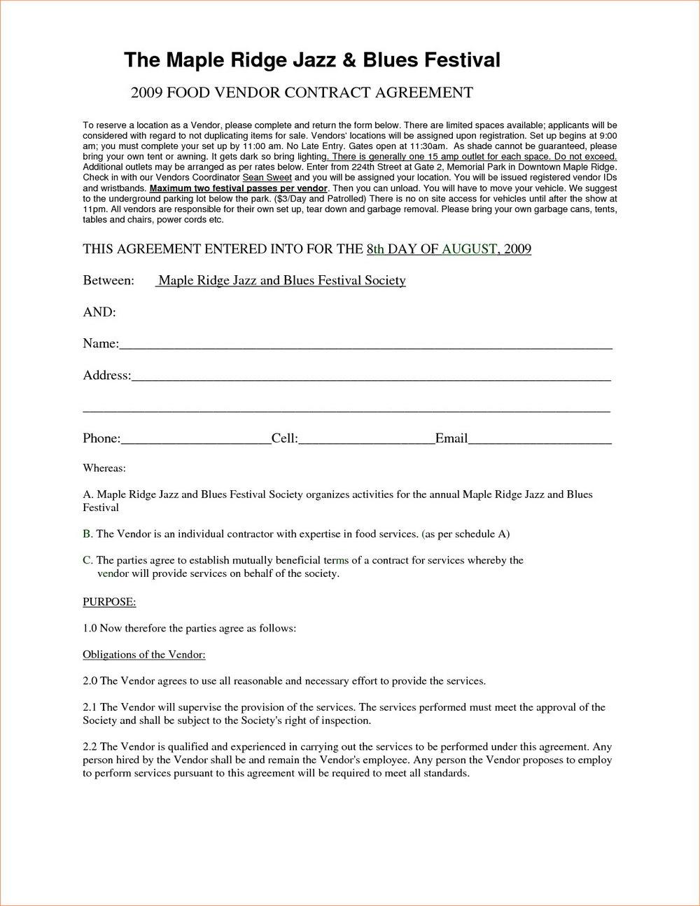 Craft Fair Vendor Agreement Template