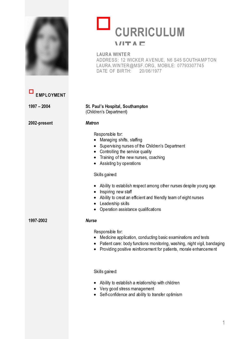 Curriculum Vitae Templates Pdf