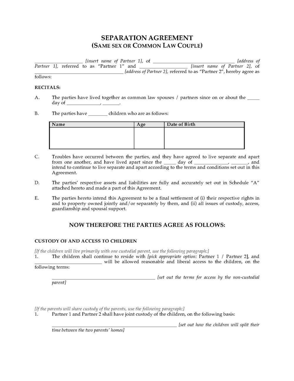 Divorce Agreement Template Alberta