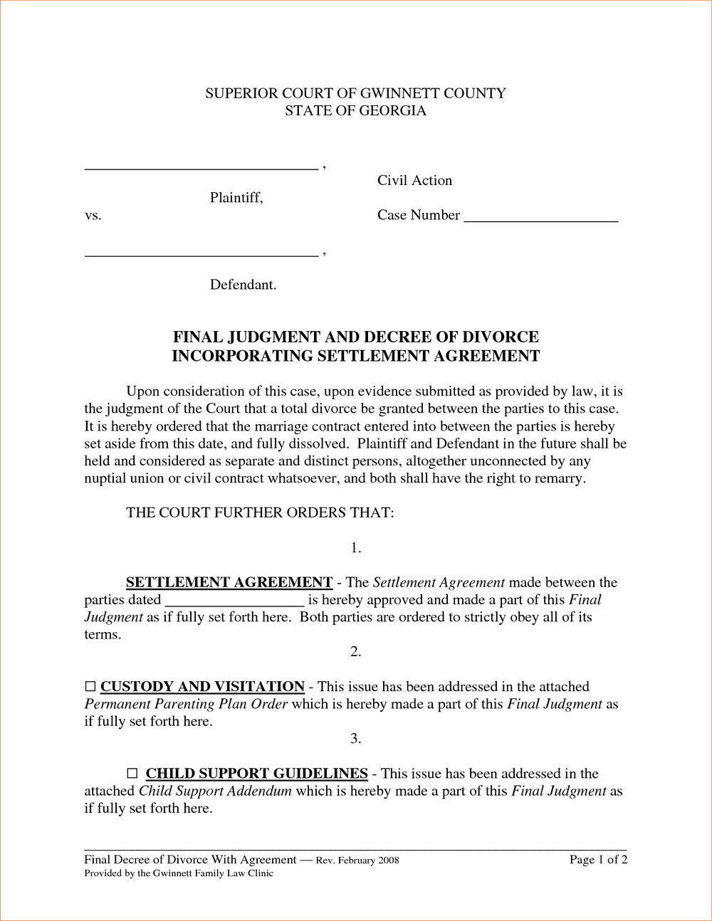 Divorce Agreement Template Singapore