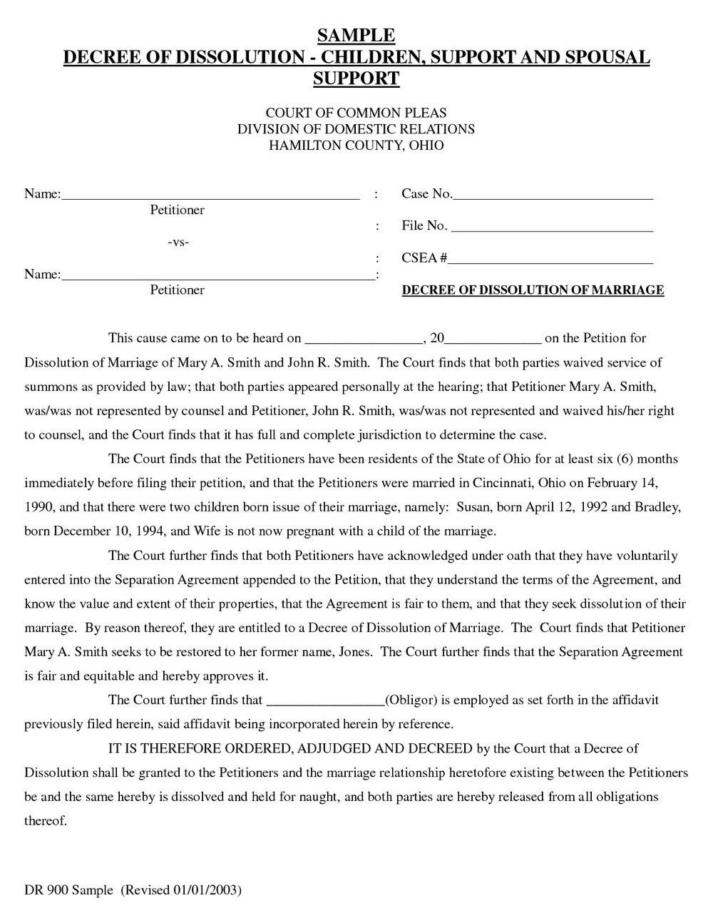 Divorce Decree Template