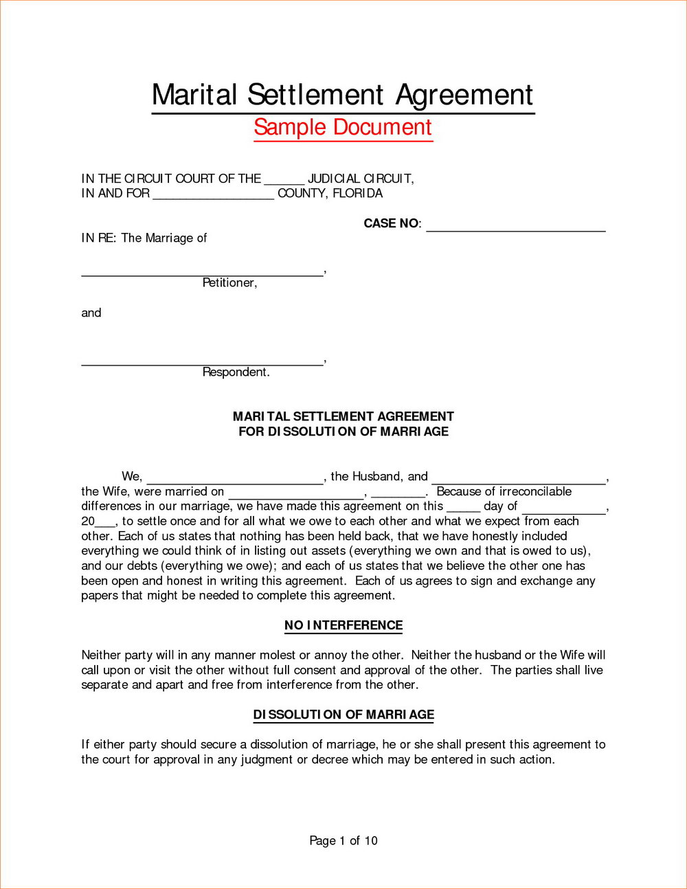 Divorce Financial Settlement Agreement Template