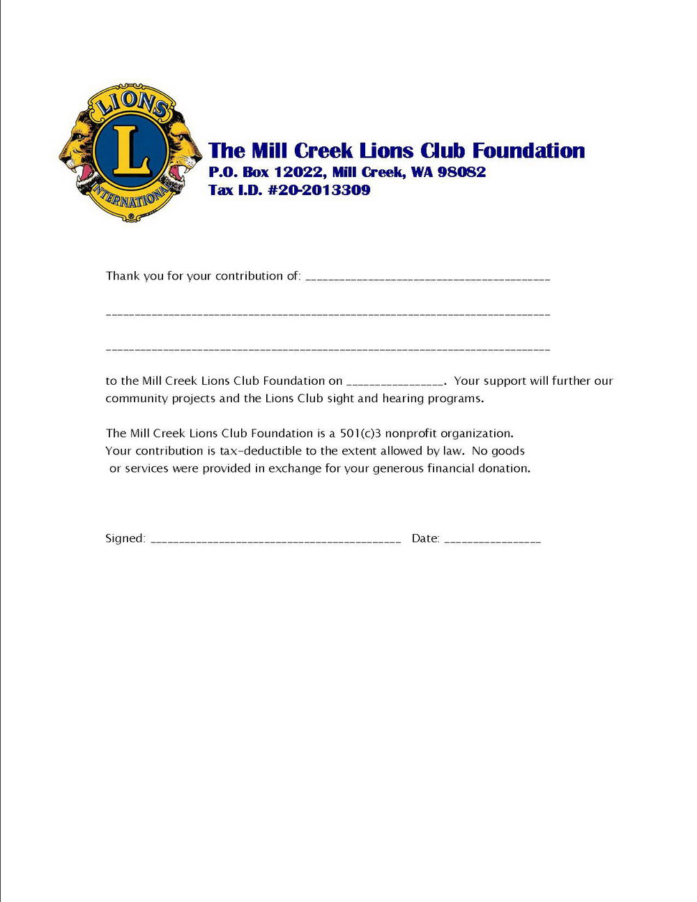 Donation Letter Template For Church