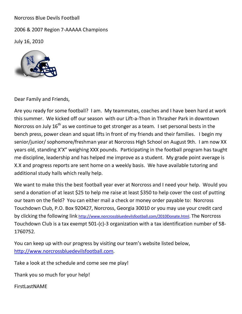 Donation Letter Template For Sports