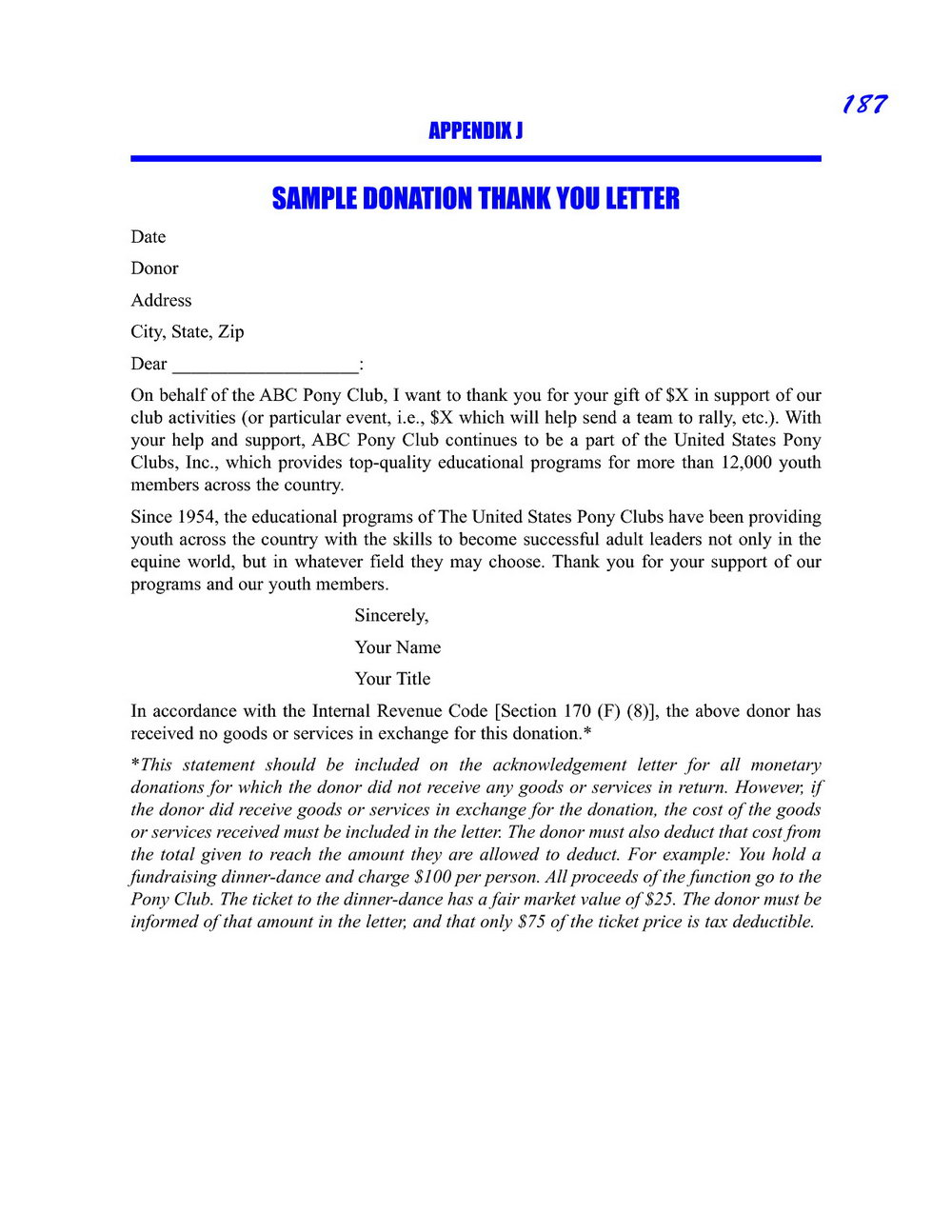 Donation Thank You Letter Template